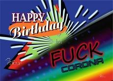 Postkarte HAPPY BIRTHDAY but FUCK CORONA