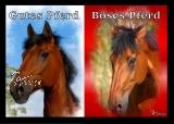 Postkarte Gutes Pferd - Böses Pferd