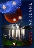 Postkarte I LOVE SAARLAND - Feuerwerk